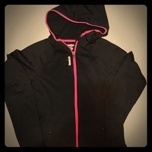 Reebok Running Jacket Hoodie Black Pink Zipper Sml